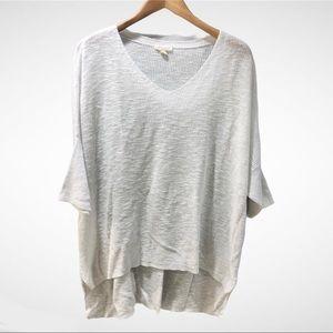 Eileen Fisher White Knit Sweater High Low Hem